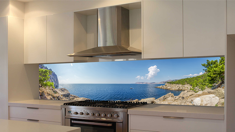 Printed Glass Kitchen Backsplash Beach Image