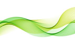 Printelt irodai üveg térelválasztó zöld hullám mintával