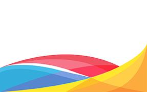 Printelt irodai üveg térelválasztó színes hullám mintával