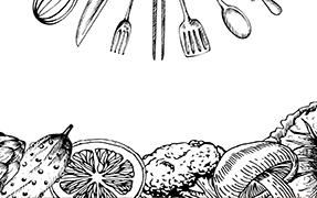 Printelt konyhai üveg hátfal zöldség mintával